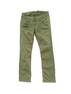 Freeman Porter Womens Khaki Pants Trousers Green Waist 32 Casual Cargo Cotton