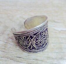 Old Tibet Silver Carved Flower Line Ring Adjustable Size Religion