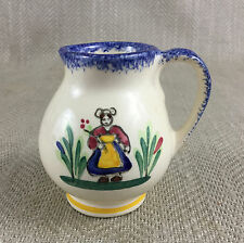 Vintage French Pottery Jug Creamer Quimper Petit Bretton  Hand Painted