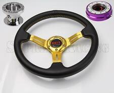 Gold Steering Wheel Kit w/Quick Release PR For Toyota Celica Corolla Cressida