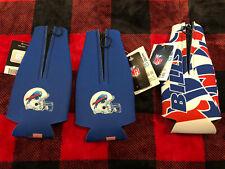 3-Insulated 12 oz. Football Buffalo Bills Beer Bottle Cooler Koozie Zip-Up