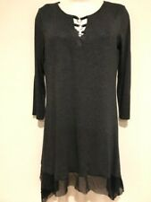 Cable & Gauge charcoal grey dress, long top,tunic, handkerchief hem size Med