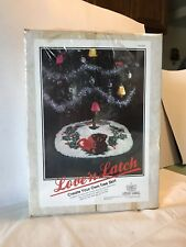 """California Country """"Love 'n Latch"""" Tree Skirt with Teddy Bear and Holly"""