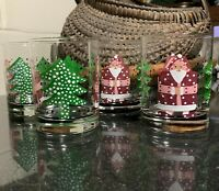 "4 Droll Designs Hand Painted Santa Claus Christmas 4 1/8"" Old Fashioned Tumblers"