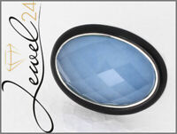 Damen Ring echt Silber 925 Sterling Bergkristall Chalcedon und Onyx 56/17,8 mm