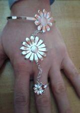 baciamano  gioiello fiori BAGNO argento lucido  BACIA MANO BRACCIALE ANELLO