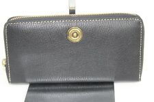 Ralph Lauren Millbrook Zip Around Women Slim Wallet Black Pebbled Leather $128 N