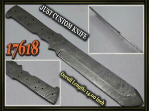 "14""Custom made Rare Damascus hunting blank blade knife making suppliers 17618"