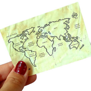 Miniature Old Map, Dollhouse Treasure 1:6 Scale BJD doll Traveling Pirates Paper