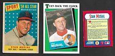 1958 - 1990 Stan Musial 3 card lot St Louis Cardinals