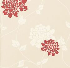 Laura Ashley Wallpaper Isodore Linen / Cranberry (3 Rolls Batch No. W089847-A/1)
