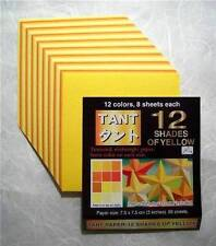 Set of 2 Japanese Double Side Yellow Origami Paper 6 Inches 48 Sheets S-3613x2