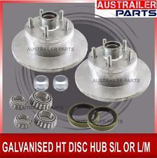 HT GALVANISED DISC HUB WITH S/L OR L/M BEARINGS, trailer parts