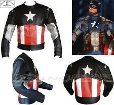 Capitán América Estilo Para Hombre Negro moto / moto chaqueta de cuero