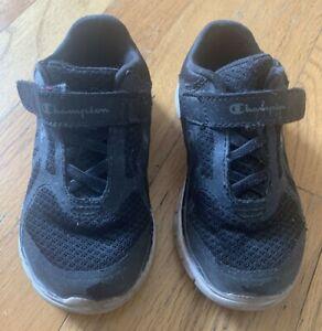 Toddler Boys Black White CHAMPION No Tie Athletic Sneakers - Size 8.5