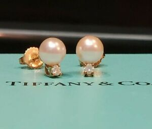 Tiffany & Co. 18k Yellow Gold Round Pearl Round Diamond Drop Earrings 750 T & Co