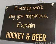Hockey & Beer Sign - Pads Gloves Stick Helmet Skates Mask Jersey Puck Ice