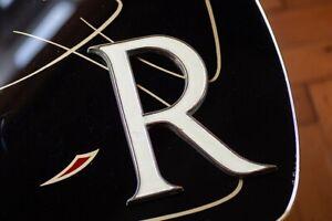 Large Vintage / Antique Art Deco Letter R Signage Brass / Enamel