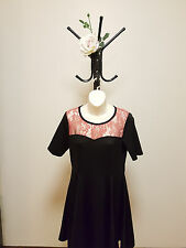✿♡ 'Revival' Womens Dress Size 10 (Black Pink Lace Rocknroll Skater Style) ♡✿