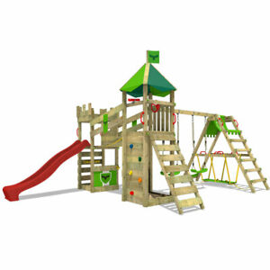 FATMOOSE RiverRun Royal XXL Climbing Frame with SurfSwing and red Slide