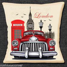 """NUOVE Icone Di Londra Big Ben Rosso Cabina Telefonica Classic Auto 16"""" CUSCINO COVER"""