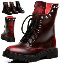 Ladies Womens Leather Rivet Shoes Ankle Martin Skull Motorcycle Combat Boots