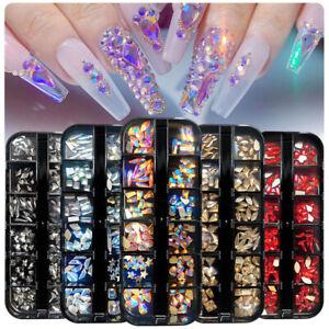 12 Shapes Crystal AB 3D Nail Art Rhinestones FlatBack Glitter Glass Gems Diamond