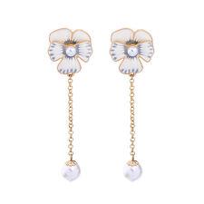 Boucles d`Oreilles Clous Doré Floral Muguet Email Bleu Blanc Perle Mariage BB16