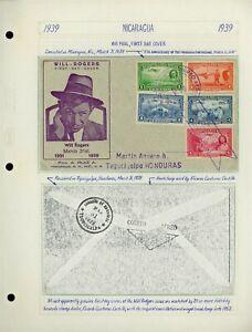 Nicaragua Will Rogers Cover LOT #23 1939 FDC MANAGUA - TEGUCIGALPA HONDURAS $$$