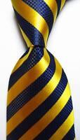 New Classic Striped Gold Dark Blue JACQUARD WOVEN 100% Silk Men's Tie Necktie