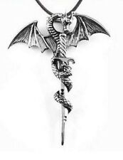 Collier, pendentif dragon entourant une épée argenté, acier vintage, Dénérys.