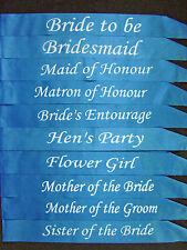 Blue - Hens Night Bridal Satin Sashes Bride Bridesmaid Maid of Honor Bride to be