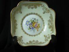 Vintage Limoges Trinket Dish Porcelain Handpainted Floral Design Gold Accents