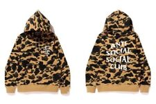 Bape x Anti Social Social Club Yellow Camo Hoodie Pullover Size Small