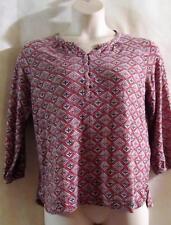 LUCKY BRAND~Soft Knit Top~Burgundy~Bohemian Henley~Diamond Woodblock Print  ~M~