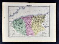 1877 Chartier Map - Algeria Oran Constantine Alger Algiers Barbary North Africa
