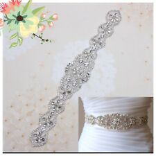 Bridal Wedding Bridesmaids Dress Crystal Pearl Sash Navy Blue Ribbon Belt