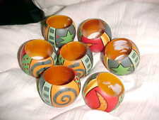 New listing Lot Of 7 Colorful Napkin Rings Wooden Moon Stars Fruit