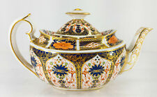 """Antique Royal Crown Derby Old Imari Pattern Large Teapot 10"""" Long with Lid"""