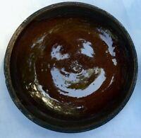 Antique Stoneware Brown Glazed Pottery Pie Plate 8-1/4''