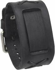 Nemesis DFXB Faded Black X Leather Watch Cuff Band 20mm Vintage 20mm Punk Rock