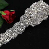 1 Yard Rhinestone Crystal applique for wedding bridal belt sash,sash applique
