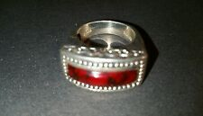 FAB NF Sterling Unisex Red Jasper Ring Size 8 1/2 or 9
