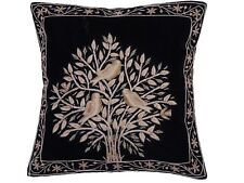 Black Tree of Life Dabka Embroidery Pillow Cover Couch Sofa Throw Ethnic Cushion