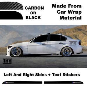 Side Skirt Stickers For BMW E90 E91 E92 3 Series M Performance Black Or Carbon