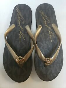 Michael Kors Jet Set Signature Flip Flops Brown Gold  Logo womens size 10