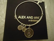 Alex and Ani Initial S Charm Bangle Bracelet Russian Silver New W/Tag Card & Box