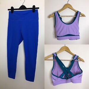 FABLETICS M Co Ord Set Power Hold Leggings Bra Two Piece Blue Purple Active Yoga