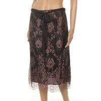 NANCY MAC Skirt Brown & Pink Floral Lace Slip Silk Tie Size 2/UK 12 JF 240