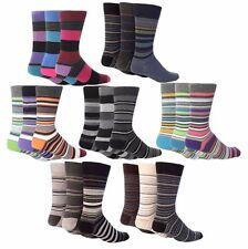 Giovanni Cassini - 6 Pack Men Colourful Striped Cotton Buisness Dress Crew Socks